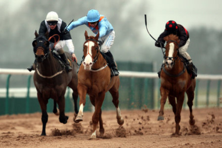 Novay Essjay (middle) ridden by Andrew Mullen beats Flow Chart ridden by Phillip makin to win The Play Golf at Southwell Golf Club handicap Stakes